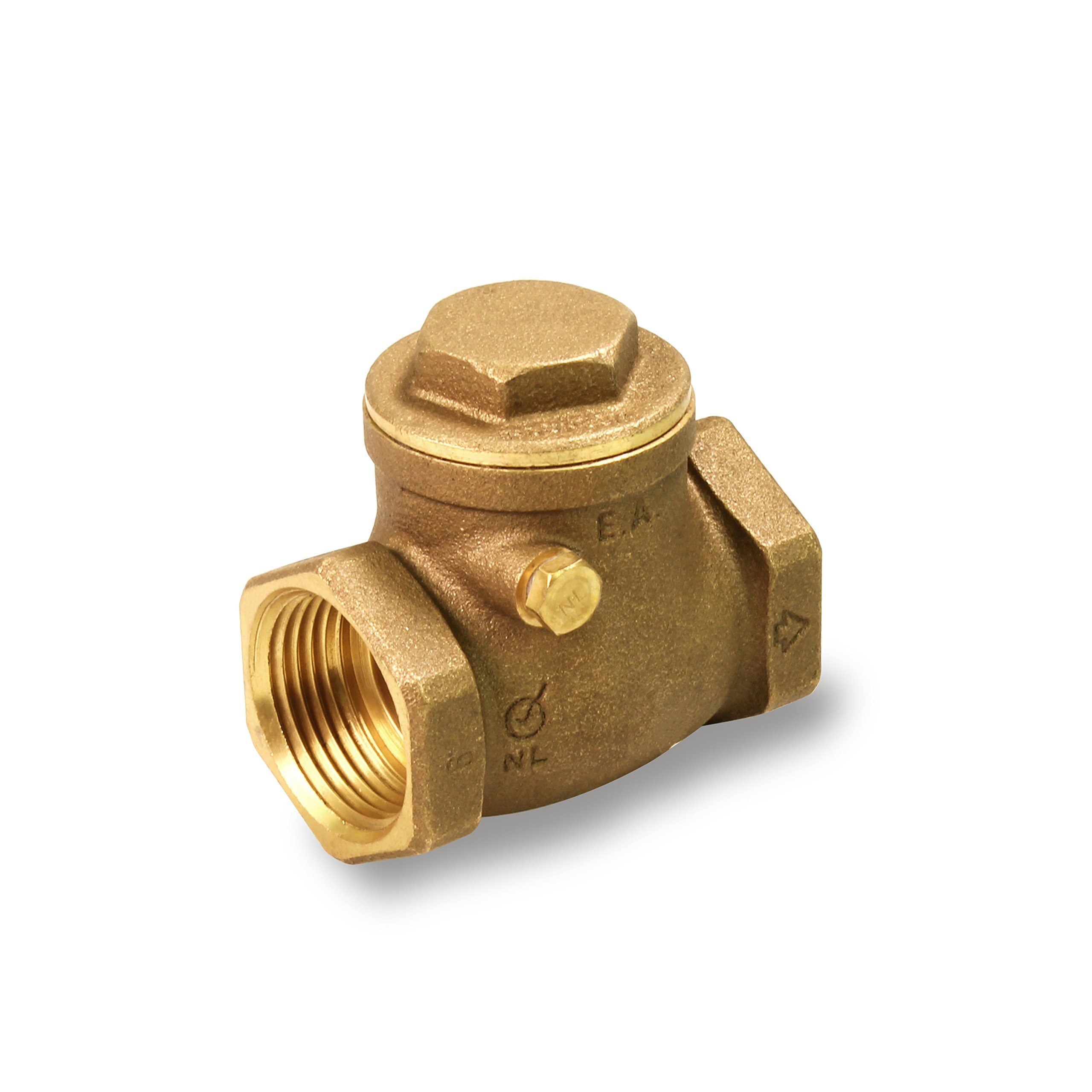 Everflow 210T001-NL 1-Inch Lead Free Brass Swing Check Valve with Female NPT Threaded, 200 PSI WOG & 125 PSI SWP, Brass Construction, Higher Corrosion Resistance Economical, Durable & Easy to Install by Everflow Supplies (Image #1)