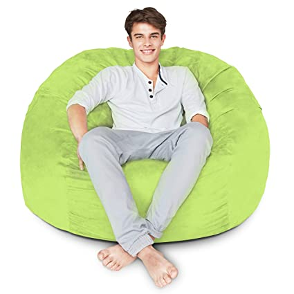 Enjoyable Bean Bag Chair 4 Foot Light Green Microsuede Cover Machine Washable Big Size Sofa And Giant Lounger Furniture For Kids Teens And Adults Creativecarmelina Interior Chair Design Creativecarmelinacom