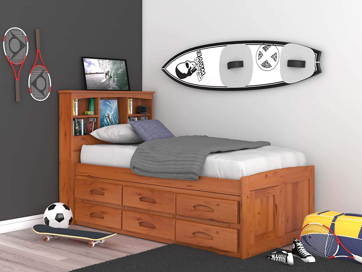 Discovery World Furniture 2120-82193 Captain's Bed, Twin, Honey