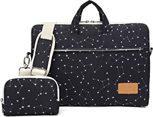 Canvaslife Black Star Pattern 15 inch Waterproof Laptop Shoulder Messenger Bag for 14 Inch to15.6 inch Laptop and MacBook Pro 15 Laptop Cas