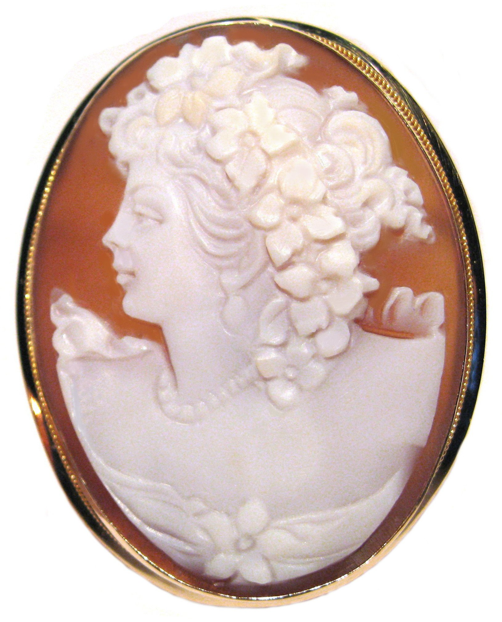 Cameo Brooch Pendant Summer Dream Master Carved, Solid 14k Yellow Gold Sardonyx Shell Italian