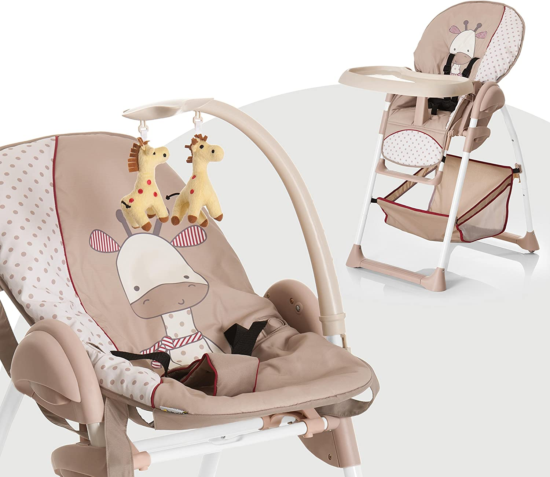 Hauck Sit N Relax - Hamaquita balancin y trona para recién nacidos, respaldo reclinable, chasis ligero, con arco móvile, mesa, ruedas, regulable en altura, plegable - beige