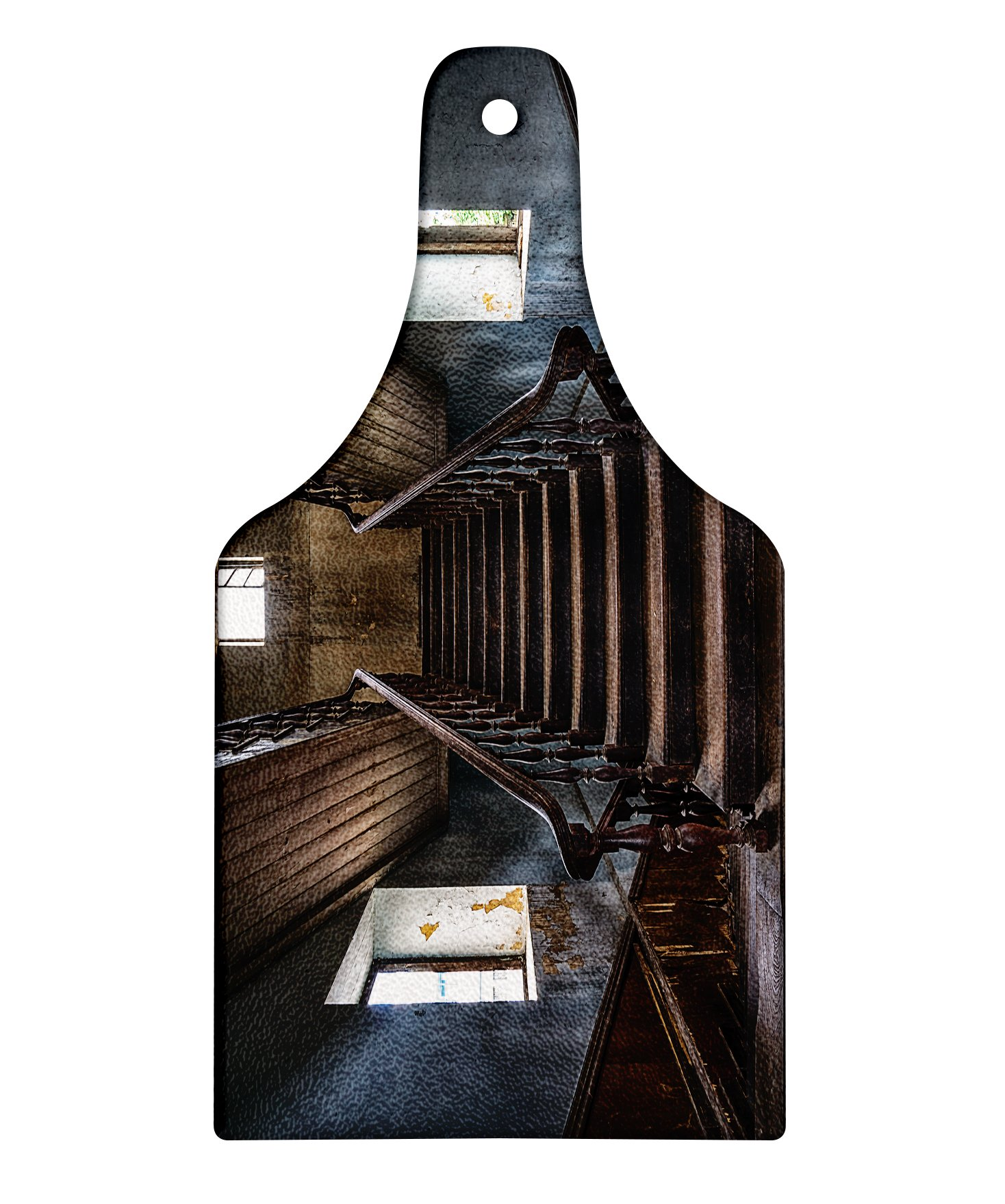 Lunarable Scary Cutting Board, Horror Movie Theme Classic Deserted Abandoned Home with Old Vintage Stairs Artwork, Decorative Tempered Glass Cutting and Serving Board, Wine Bottle Shape, Multicolor
