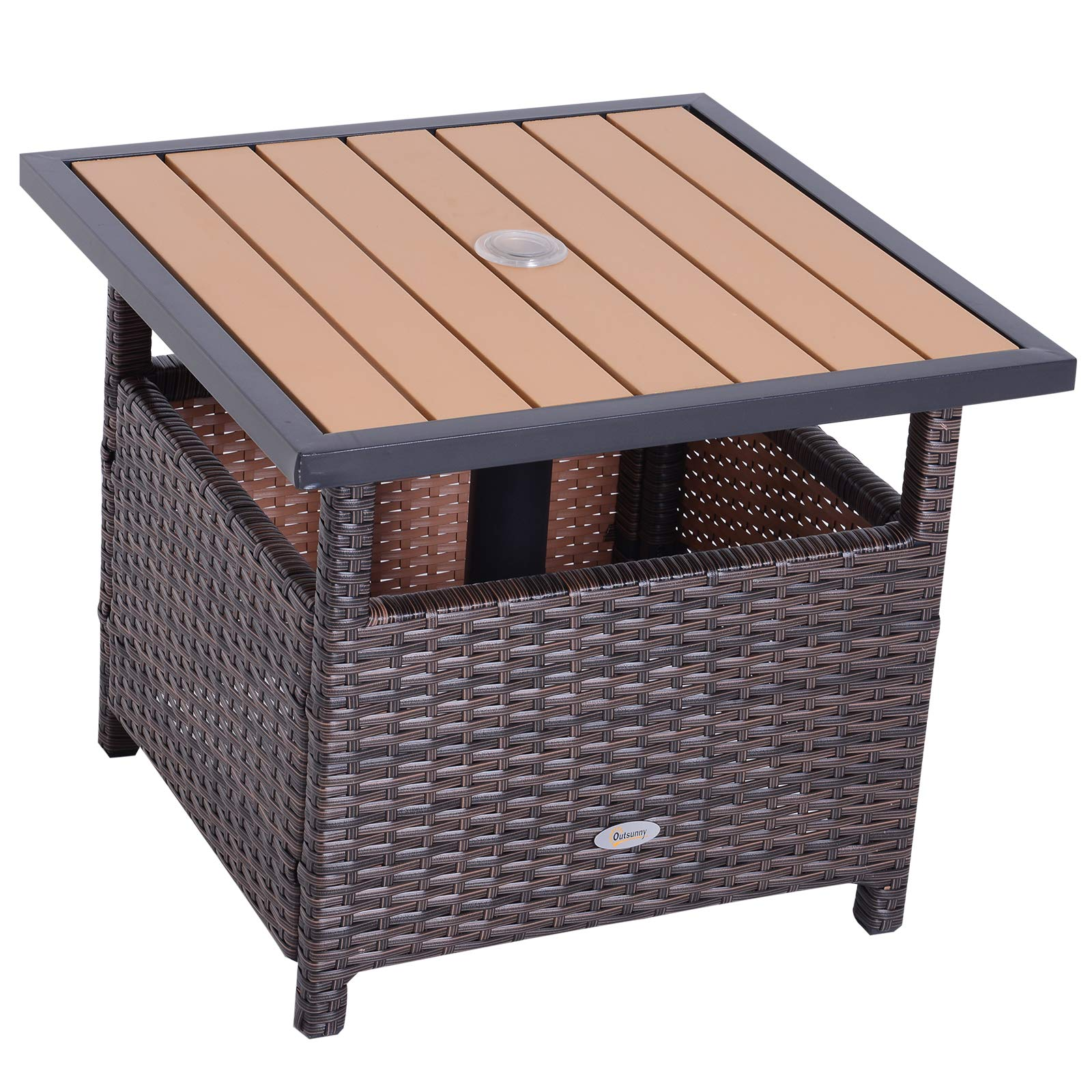 Outsunny 22'' Steel PE Rattan Wicker Outdoor Patio Accent Table with Umbrella Insert