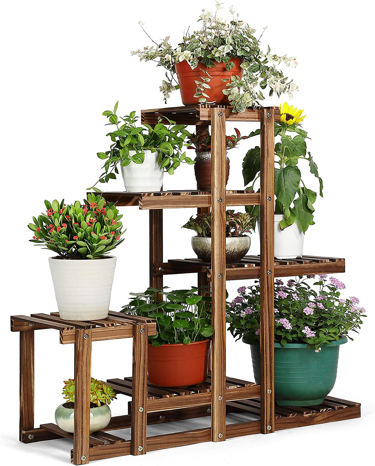 HYNAWIN Plant Stand Wood Multi Tier Plant Shelf Holder Indoor Outdoor Flower Rack Display Storage Shelves for Patio Garden Balcony Yard