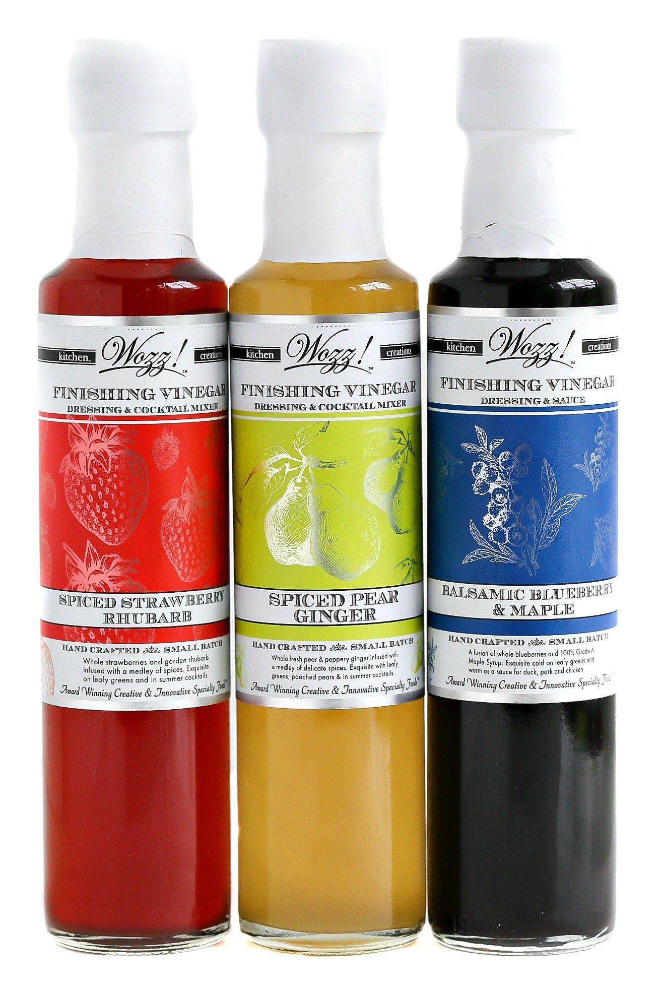 Wozz Kitchen Creations Gourmet Vinegars Set of 3 (Each 8.5 Fl. Oz) Balsamic Blueberry Maple Vinegar, Strawberry Rhubarb Vinegar, Spiced Pear Ginger Vinegar - Handcrafted - Fruit Infused Vinegars