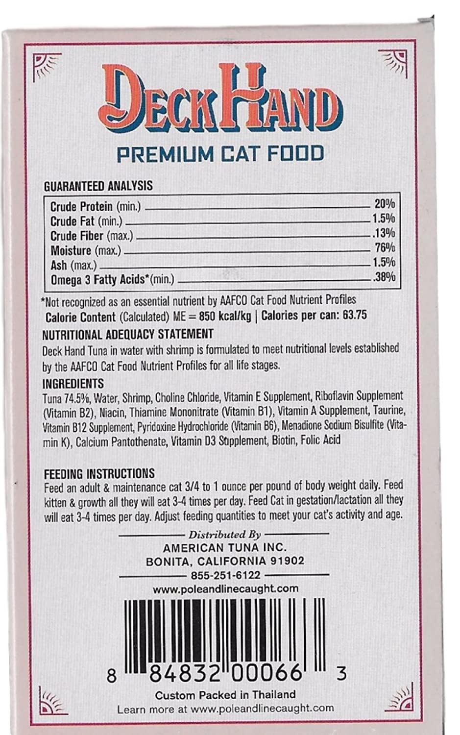 Deck Hand Premium Cat Food  Uniquely Pole & Line Caught Wet Cat Food   Variety 9 Pack Canned Cat Food with 3 Tantalizing Flavors  Pure Tuna,  Salmon,