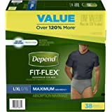 Depend FIT-FLEX Incontinence Underwear for Men Maximum Absorbency, Large/X-Large (38-64 in. Waist, 170-300 lbs.), 38 Count, Disposable Absorbent Underwear for Adults, Packaging May Vary