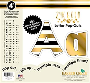 "Barker Creek 4"" Poster Letters & Bulletin Board Letter Pop-Outs, 24k Gold (LL-1723)"
