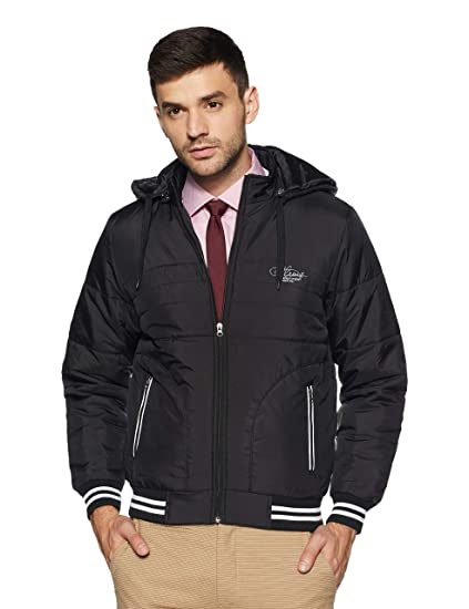 b189342299 Qube by Fort Collins Men s Bomber Jacket (14649 M Black)  Amazon.in ...
