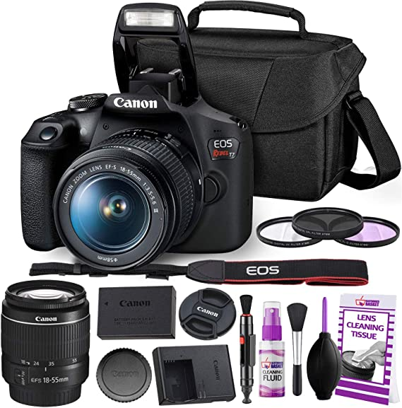 Canon Rebel T7 DSLR Camera with 18-55mm Lens Kit and Carrying Case