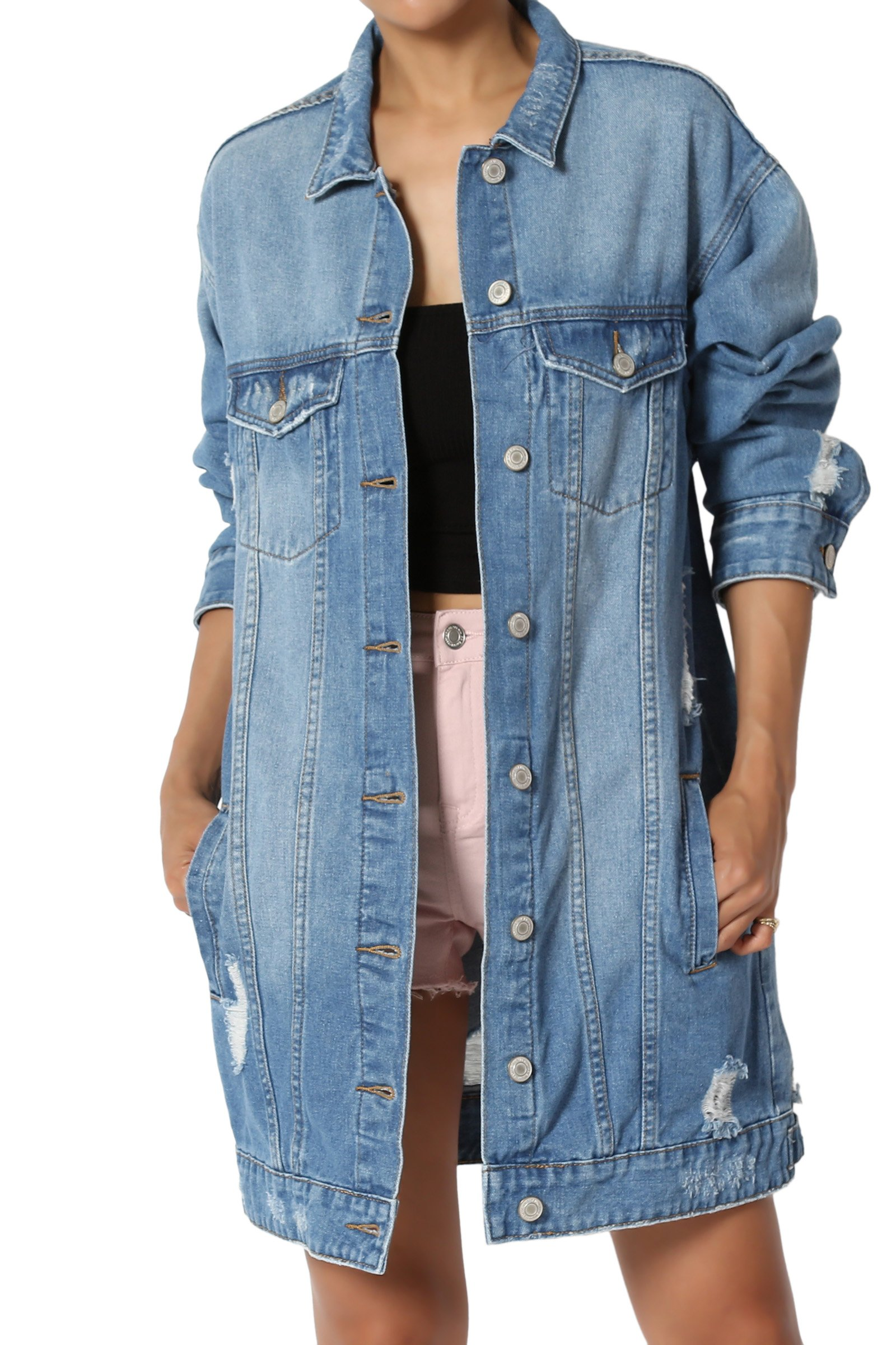 TheMogan Junior's Vintage Distressed Oversized Boyfriend Denim Jacket Medium L