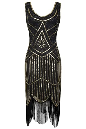c9ed81cb9c1a5 BABEYOND 1920s Flapper Dress Roaring 20s Great Gatsby Costume Dress Fringed  Sequin Dress Embellished Art Deco