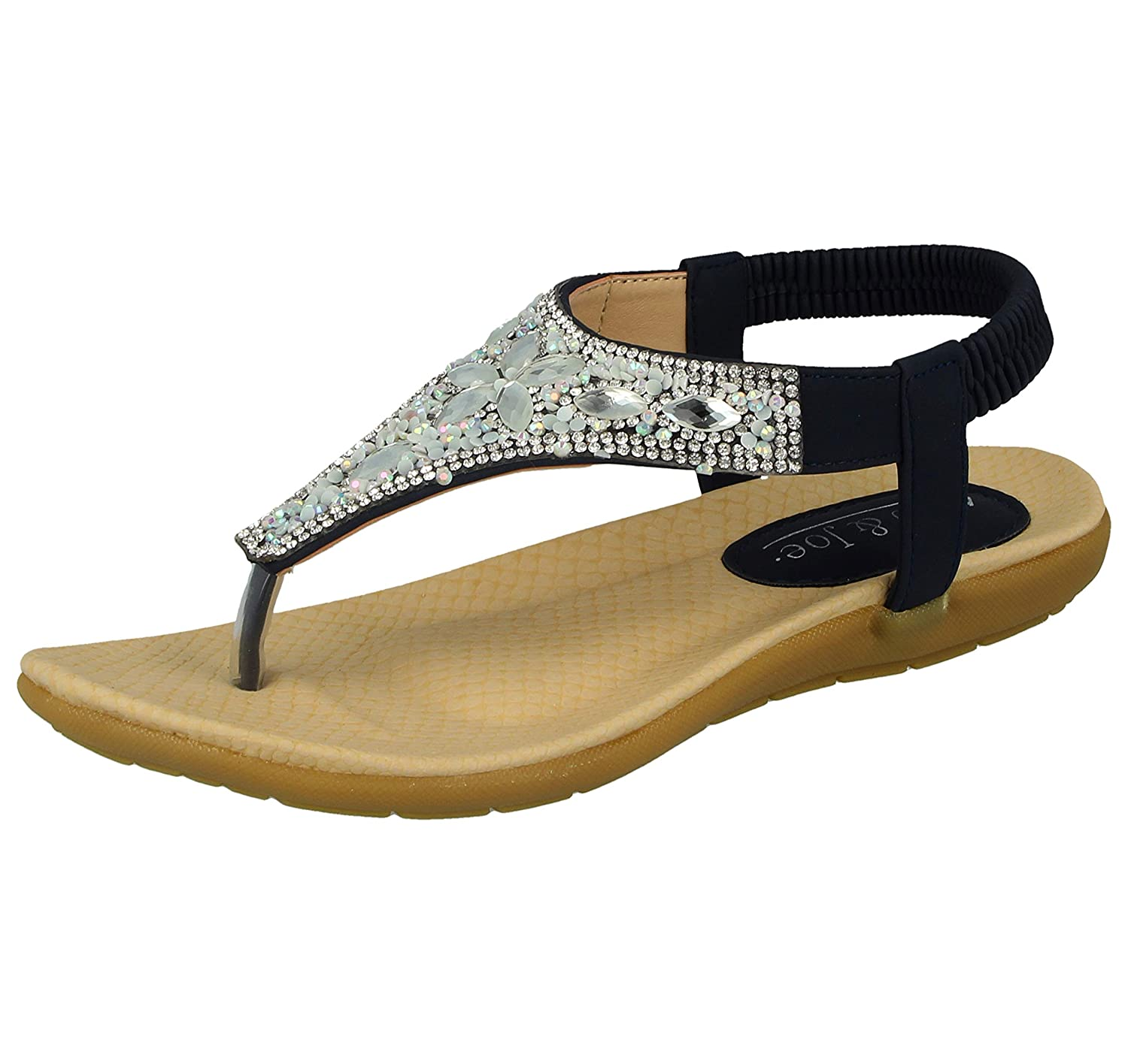 cbef0f9f7da54 Jo & Joe Womens Faux Leather Open Toe Post Sling Back T-Bar Dimante  Encrusted Flip Flop Sandals UK 3-8