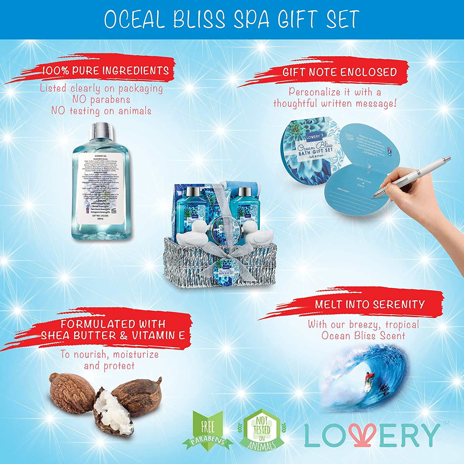 Amazon.com : Spa Gift Basket in Heavenly Ocean Bliss Scent - 9 Piece ...