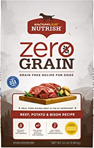 Rachael Ray Nutrish Zero Grain Natural Dry Dog Food, Beef, Potato & Bison Recipe, 22 Pounds, Grain Free