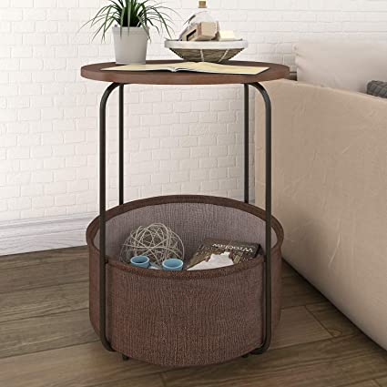 Lifewit Round Side Table End Table Nightstand With Storage Basket, Modern  Collection Espresso