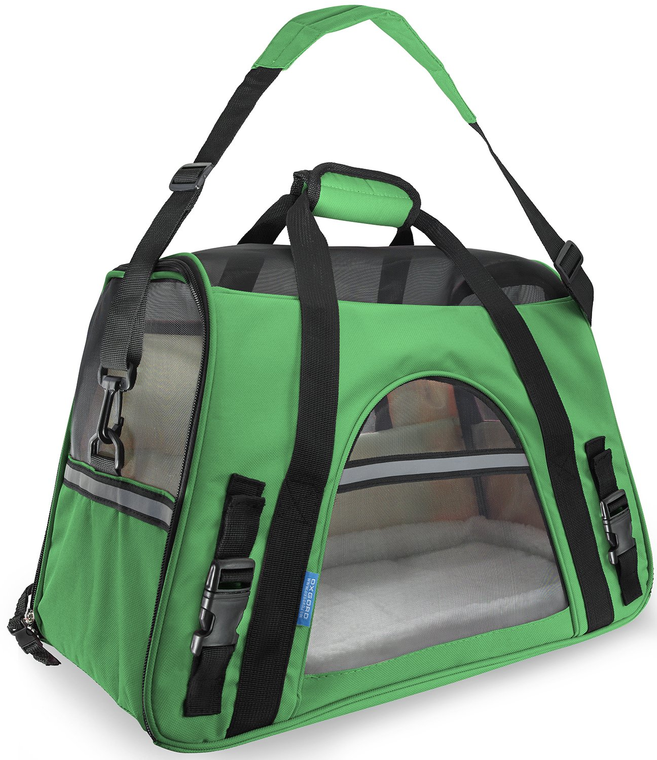 OxGord Pet Carrier Soft Sided Cat / Dog Comfort ''FAA Airline Approved'' Travel Tote Bag - 2015 Newly Designed, Small, Shamrock Green
