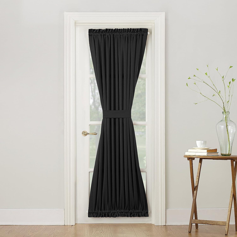 Sun Zero Barrow Energy Efficient Door Panel Curtain with Tie Back,Chocolate Brown, 47406