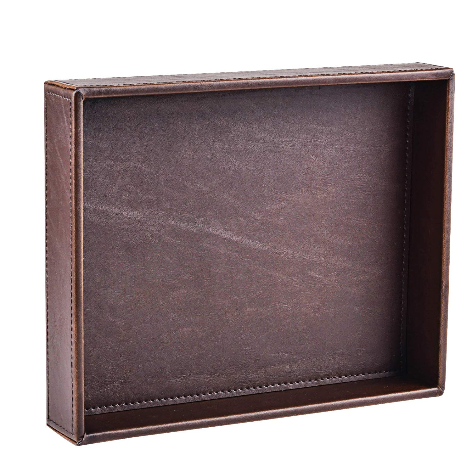 Decor Trends Brown 10.2''x8.3'' Rectangle Vintage Leather Decorative Office Desktop Storage Catchall Tray,Valet Tray,Nightstand Dresser Key Tray