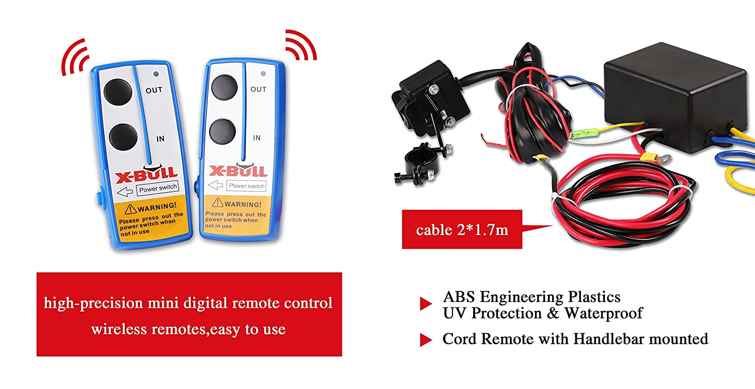 X Bull 12v 3000lbs 1361kgs Electric Winch Synthetic Rope Atv Wiring Diagram Relay 40 10meter Wireless 4wd Home Improvement