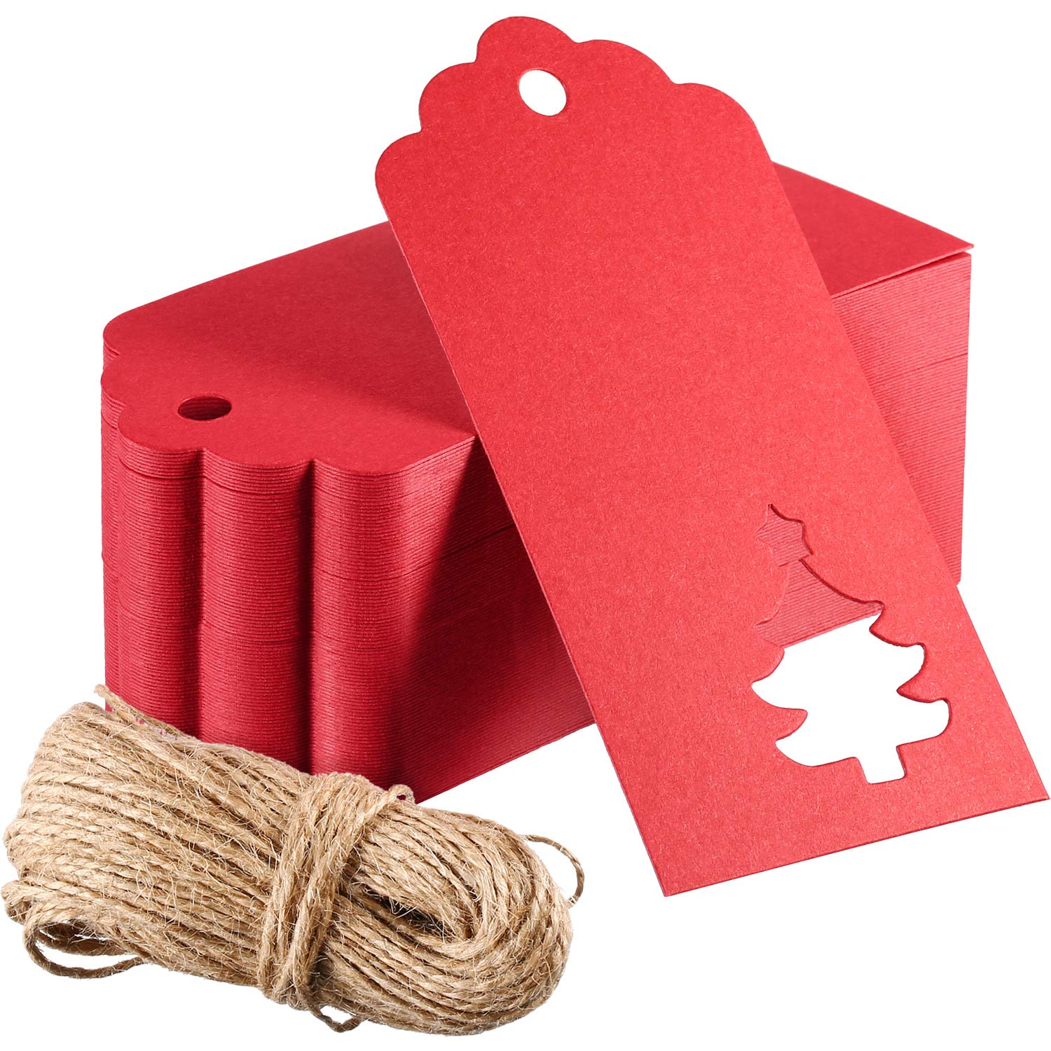 Outus 100 Pieces Kraft Paper Gift Tags Hollow Christmas Tree Design with 66 Feet Twines for Wedding Favor Christmas (Red)