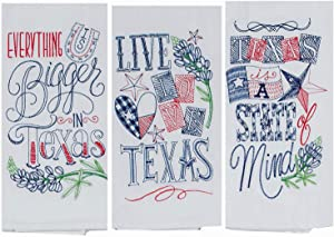 18TH STREET GIFTS Texas Kitchen Towels, Set of 3 - Texas Themed Home Decor