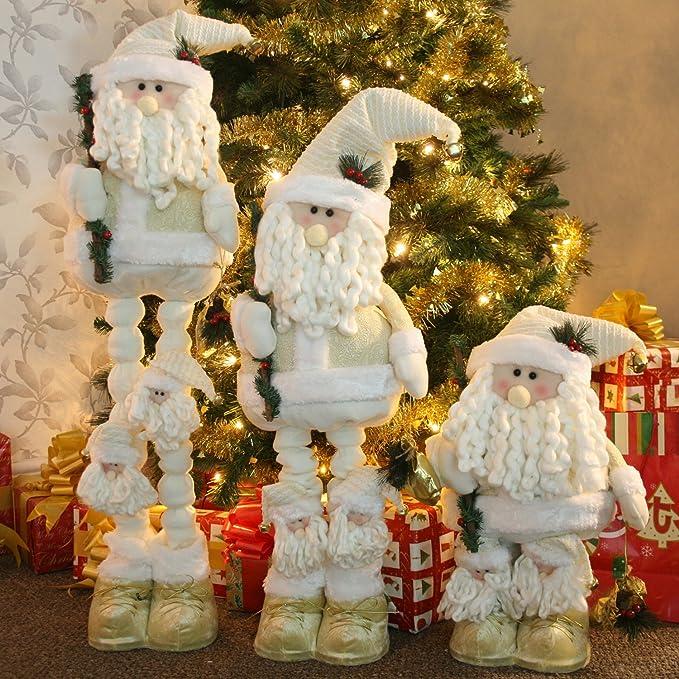 WeRChristmas - Decoración de suelo tamaño grande, 50 - 100 cm de pie de Papá Noel con piernas extensibles, color crema/dorado: Amazon.es: Hogar