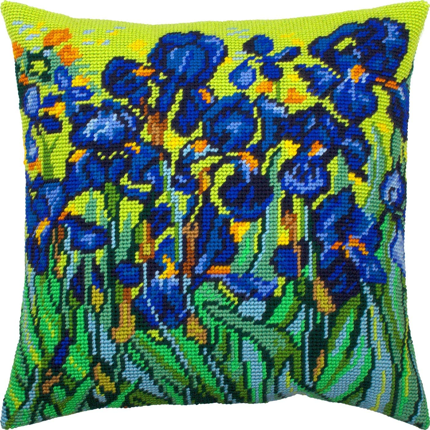 Printed Tapestry Canvas Pink Irises European Quality Needlepoint Kit Throw Pillow 16/×16 Inches