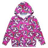 Jxstar Girls Hoodie Bomber Jacket Unicorn Print Long Sleeve Full Zip Pocket Coat Outwear