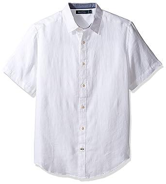 Nautica Men s Short Sleeve Classic Fit Solid Linen Button Down Shirt ... 83e7b172b1a73