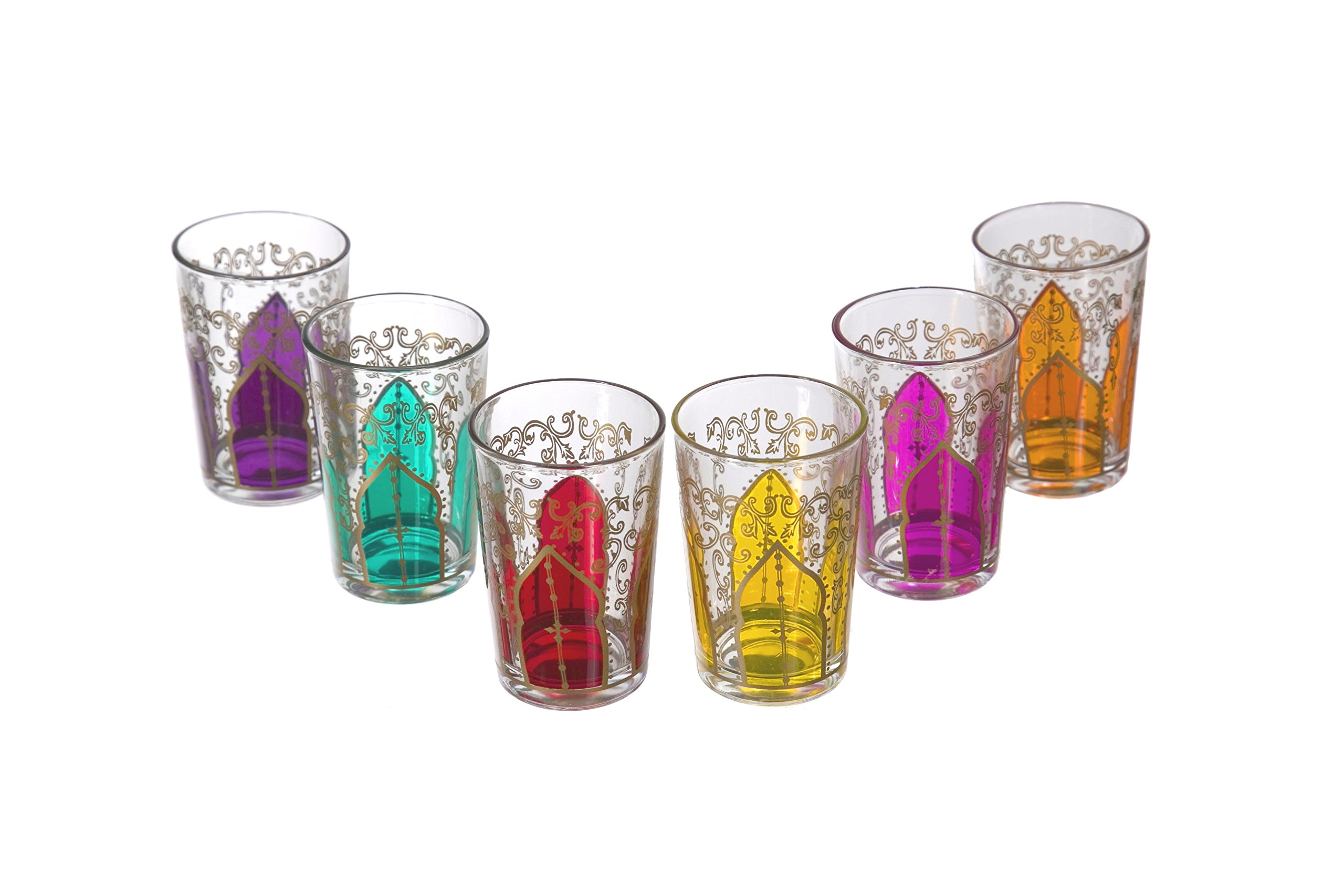 Casablanca Market Moroccan Tamansour Mix Tea Glasses, Multicolored, Set of 6