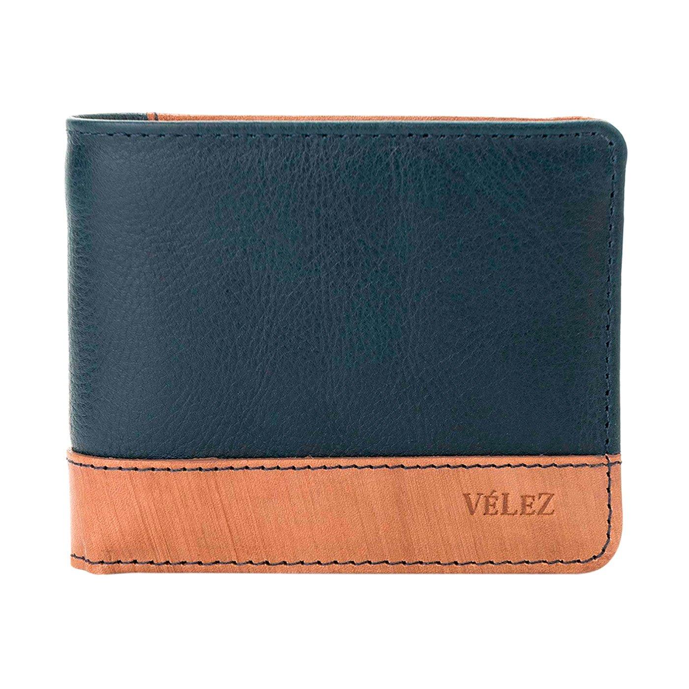 VÉLEZ 20390 Leather Bifold Wallets For Men | Cartera De Cuero De Hombre Navy at Amazon Mens Clothing store: