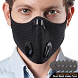 EJG N99 Mask With Filters, Washable With 6 Carbon Filters, 2 Breathing Valves, Pollen Woodworking Running Cycling Outdoor, Black Face Pollution Dust Filter Mask Respirator (A- Mask With 6 Filters)