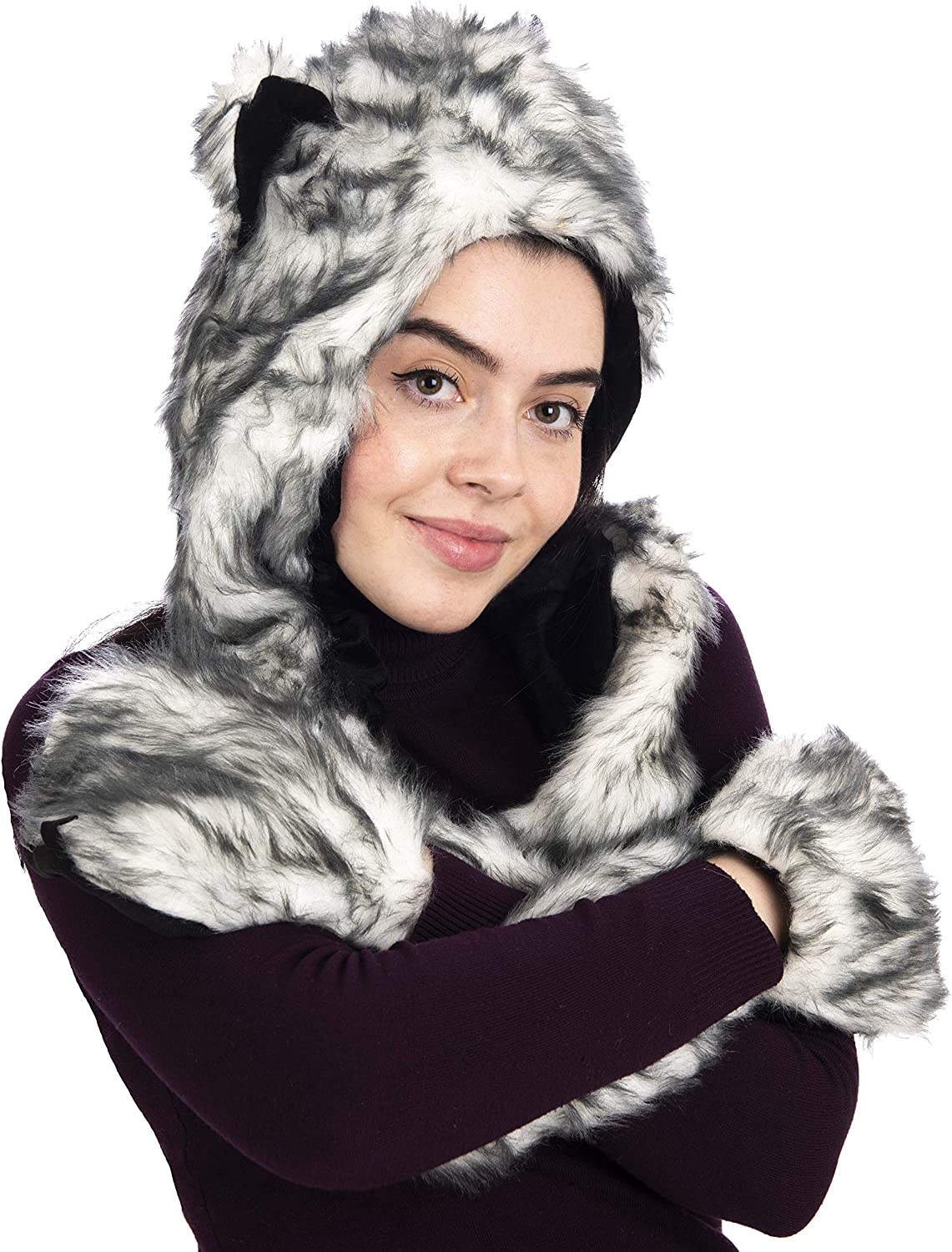 Womens Girls Men Boy Hat with Gloves and Scarf Three in One White Gray Color Cute Fun Hat for Fun Pictures Worm and Soft