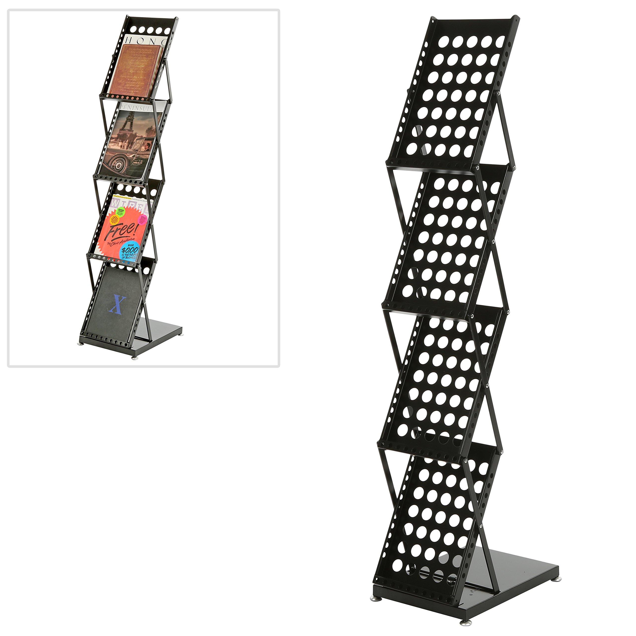 Modern Folding 4 Tier Metal Magazine Rack, Freestanding Literature Display Stand, Black