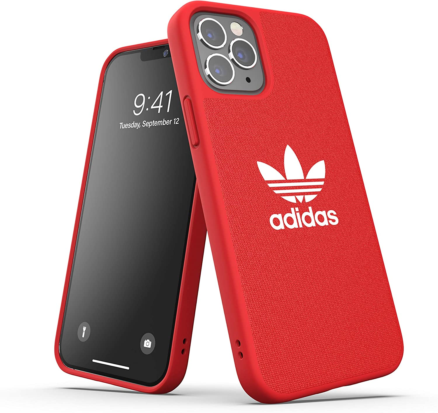adidas Phone Case Designed for iPhone 12 / iPhone 12 Pro 6.1, Canvas Cover, Drop Tested Cases, Shockproof Raised Edges, Originals Protective Cover, Scartlet