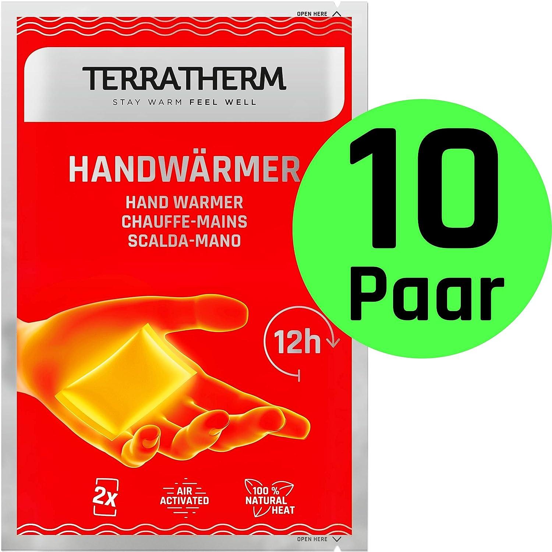 100/% Calor Natural Almohadillas t/érmicas activadas por Aire TerraTherm Calentadores de Manos- 10 Pares calienta Bolsillos para 12 Horas de Manos Calientes calienta Manos