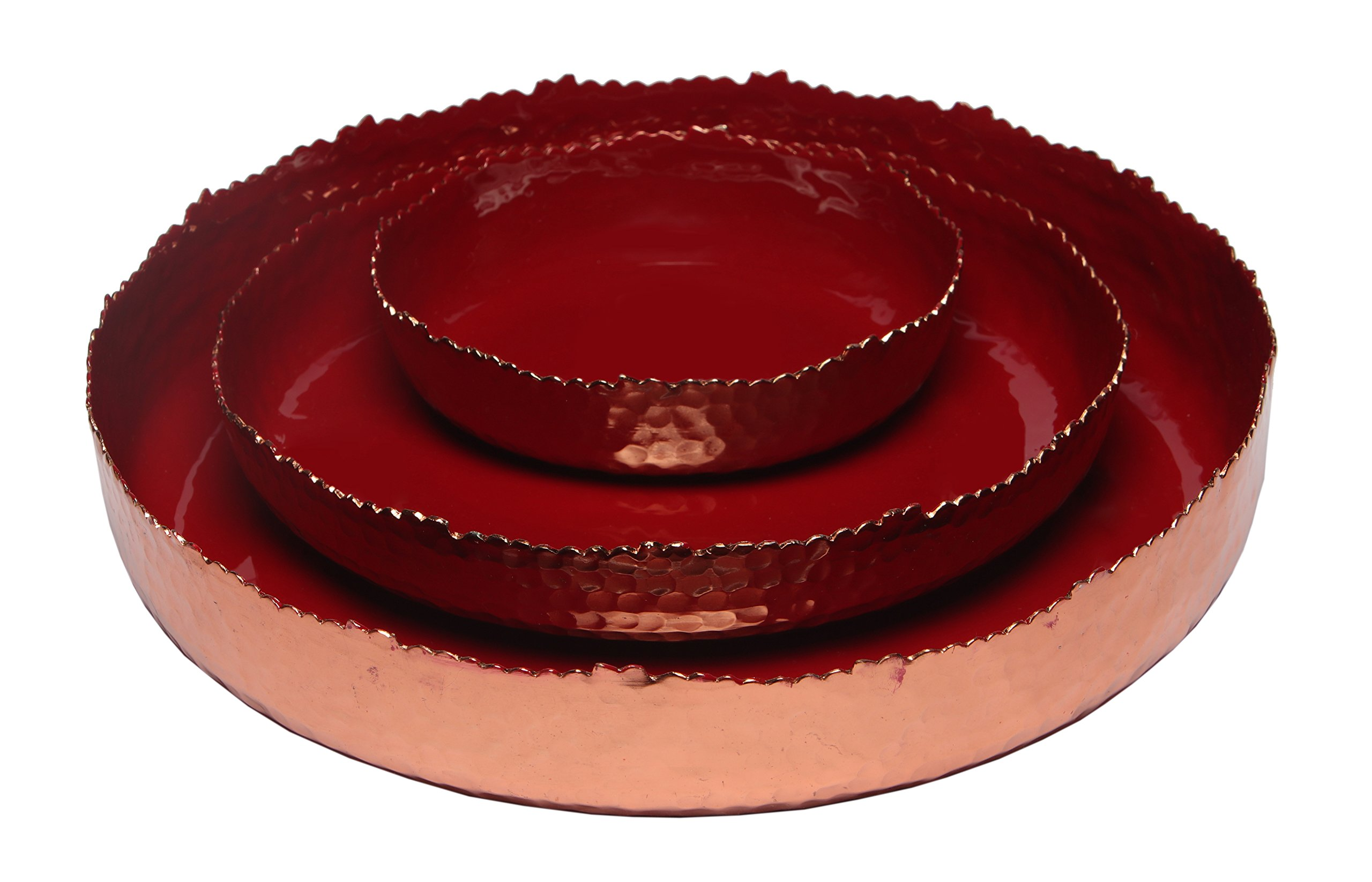 Melange Home Decor Copper Collection, Set of 3 Round Platters - 6'', 9'' and 12'', Color - Paprika Red