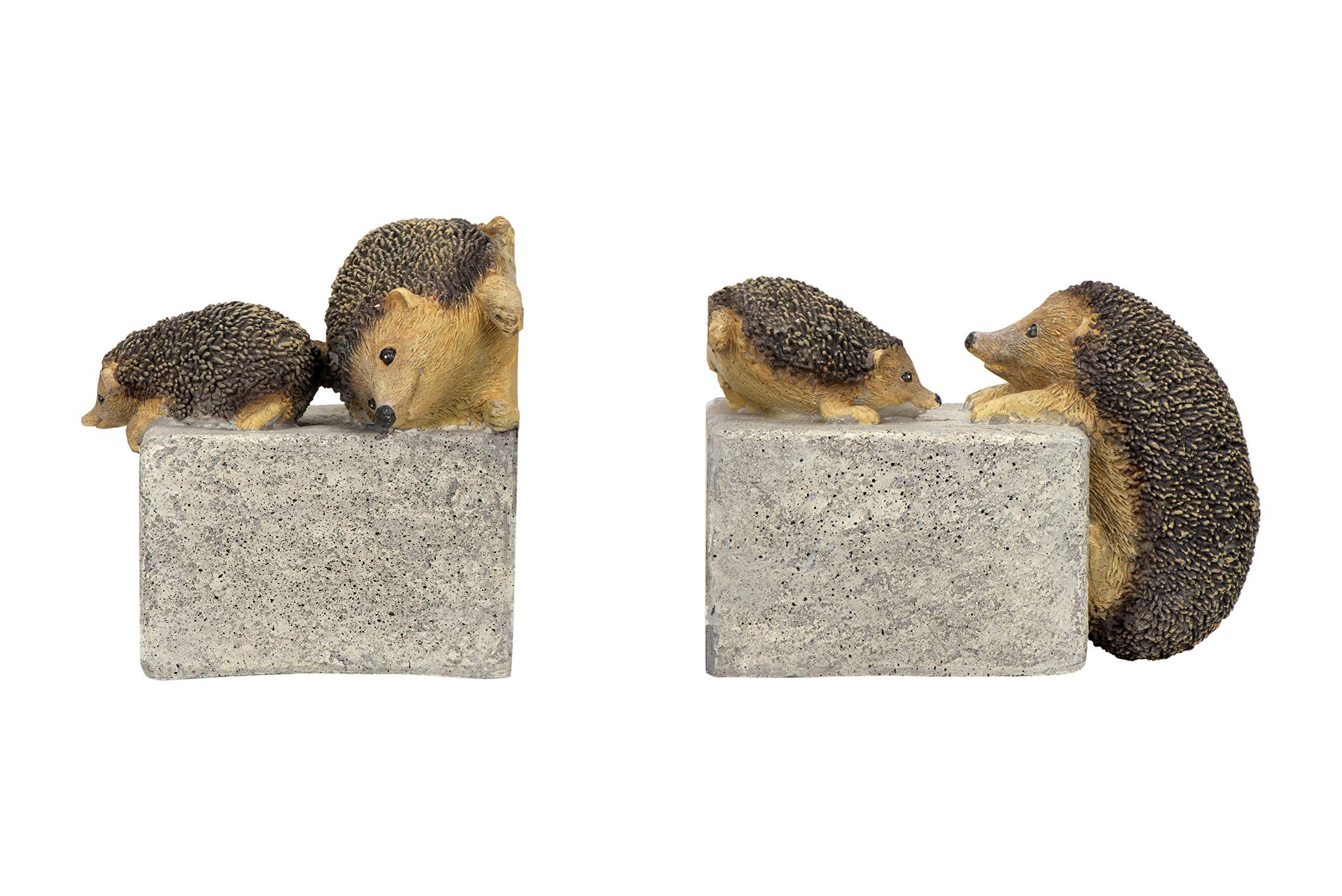 Creative Co-op Brown & Grey Resin (Set of 2 Pieces) Hedgehog Bookends, Brown