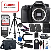Canon EOS 80D Digital SLR Camera Body Only(Black) 19PC Professional Bundle Package Deal ?SanDisk 64gb SD Card + Canon Shoulder Bag + 60? Tripod + More