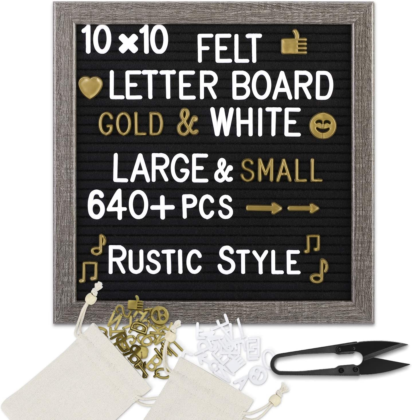 ONE WALL Black Felt Letter Board 10x10 Inch Changeable Message Sign Board Rustic Wood Frame /& Over 640 Precut Letters Symbols Emojis Scissors 2 Storage Pouches for Memo /& Message