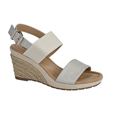 84774ffb97a81c Shumo ORANGE GROVE Ladies Elasticated Wedge Heel Sandals Silver UK 7