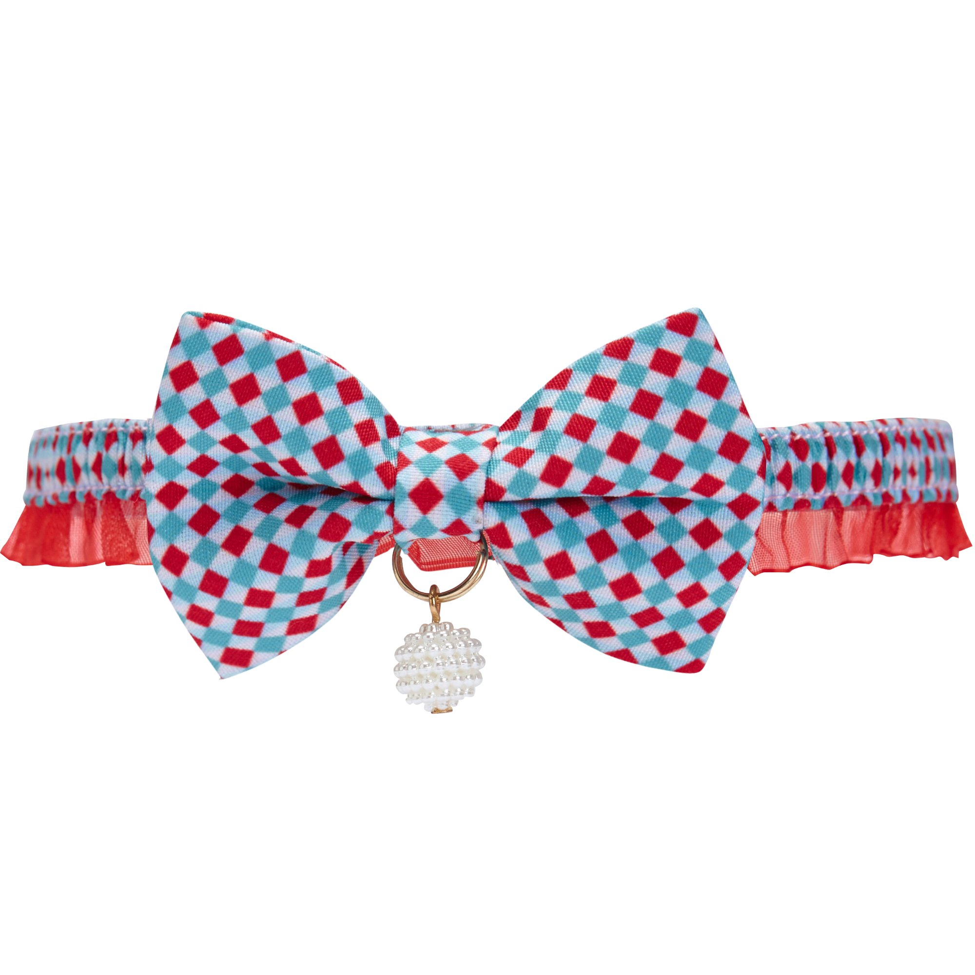 Blueberry Pet 18 Designs Two Tone Checker Breakaway Bowtie Cat Collar Lace Choker Necklace with Handmade Bow Tie and Pearl Charm, Safety Elastic Stretch Collar for Cats, Neck