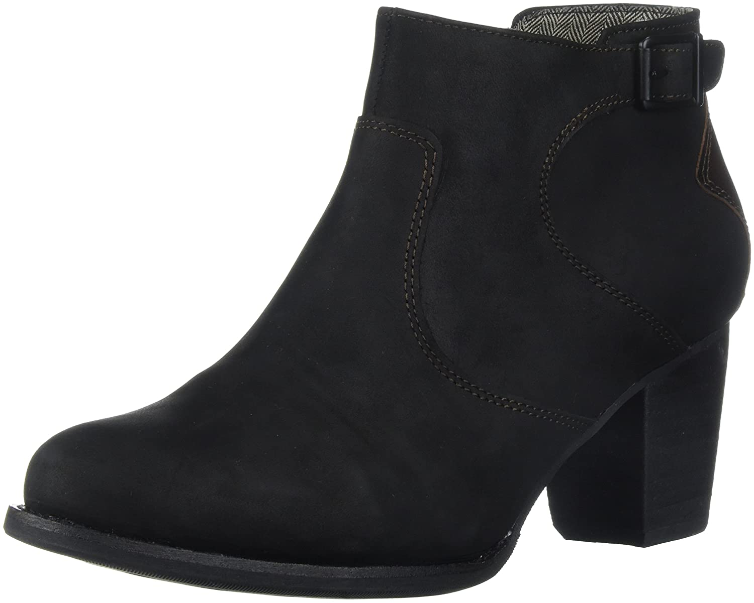 Caterpillar Women's Trestle Waterproof Leather Bootie with Side Zip Abd Stacked Heel Ankle Boot B01NAIXV0J 10 B(M) US|Black / Tawny
