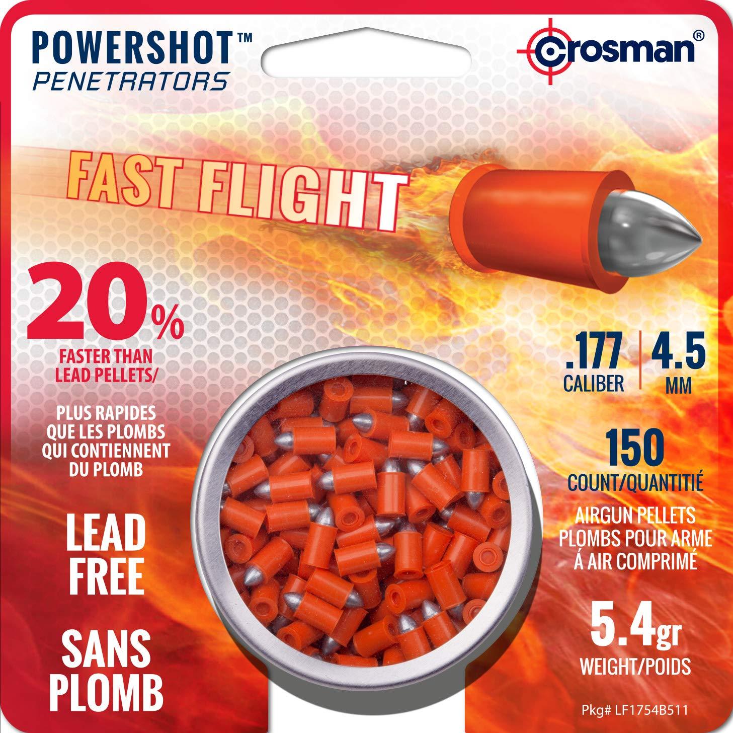 Crosman LF1754 .177-Caliber Lead-Free PowerShot Fast Flight Penetrator Pointed Pellets (150-Count)