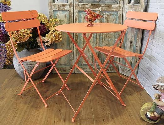 MAXIOCCASIONI Mesa y sillas de jardín de Hierro Color Naranja: Amazon.es: Hogar