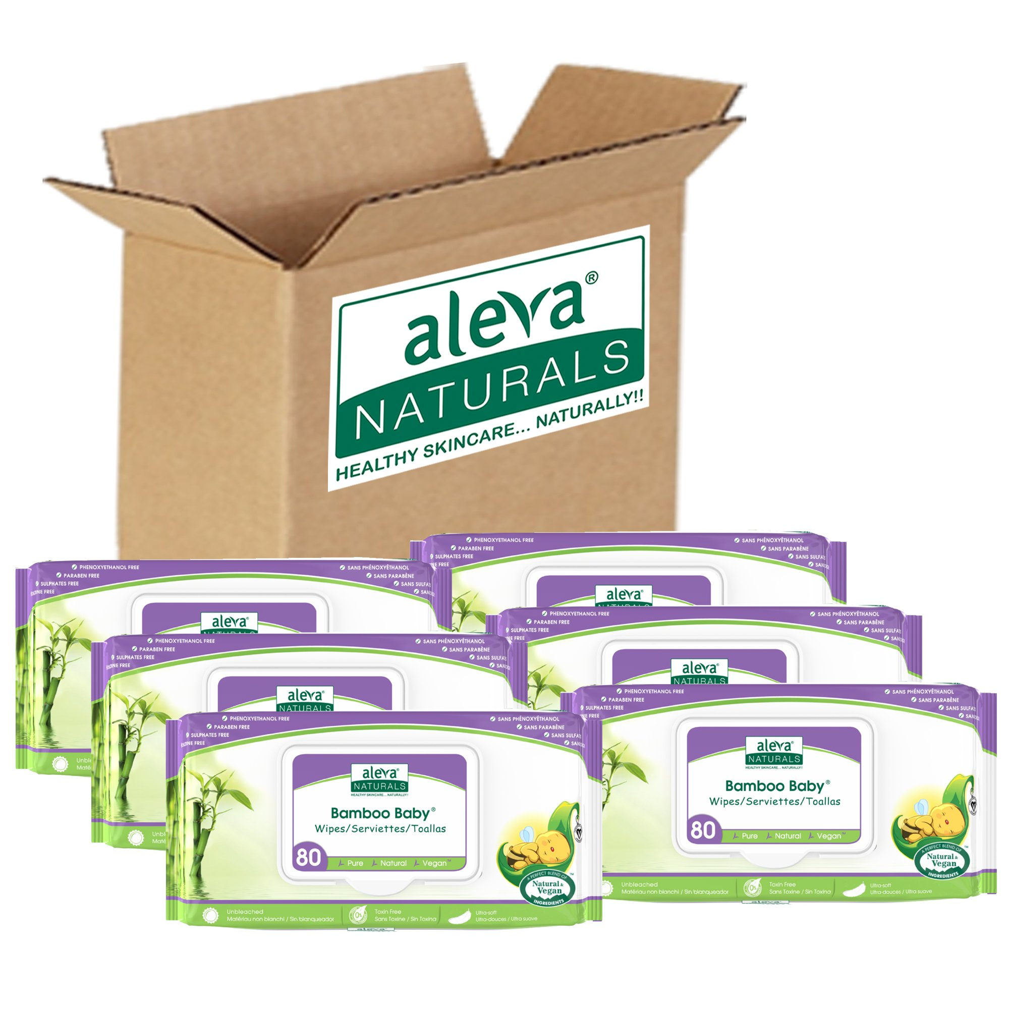 Aleva Naturals Bamboo Baby Wipes | Perfect for Sensitive Skin | Extra Strong and Ultra Soft | Natural and Organic Ingredients | Certified Vegan | 6 Packs of 80ct - Total of 480ct by Aleva Naturals