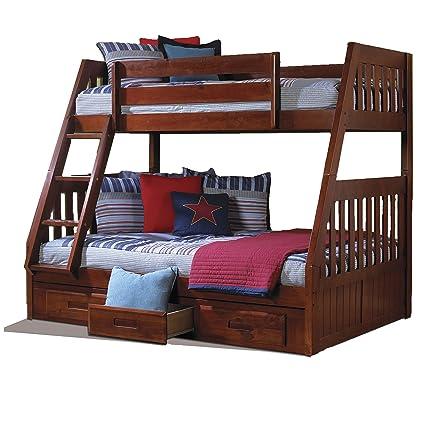 Amazon Com American Furniture Classics Merlot Pine Wood Twin Over