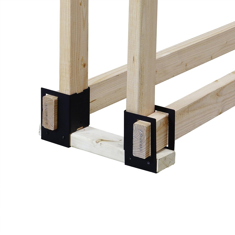 amazon com pleasant hearth 4 piece log rack brackets black home